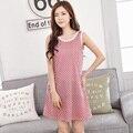 Sleepwear Summer Plaid Women Nightdress 100% Cotton Nightgowns Short Sleeve Lounge Female Sweet  Homewear