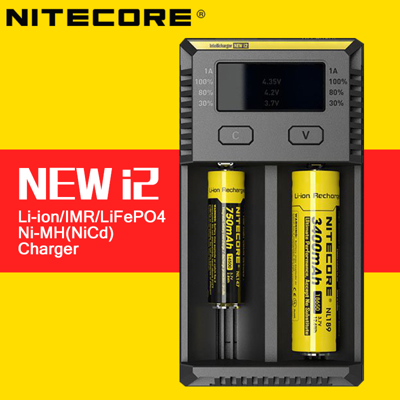 Original 2016 Nitecore New i2 Smart Battery Charger Max Output 1A with Indicator for LiFePO4 Lithium Ion Ni-MH NiCd