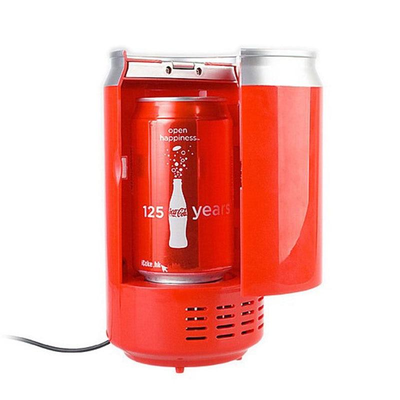 high quality usb mini portable fridge red portatil beverage drink cans cooler and warmer