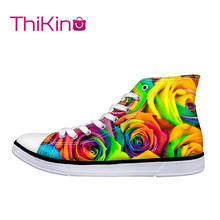 Thikin 2019 New High Top Canvas Shoes for Teenager Popular Women Iridescent Sneaker