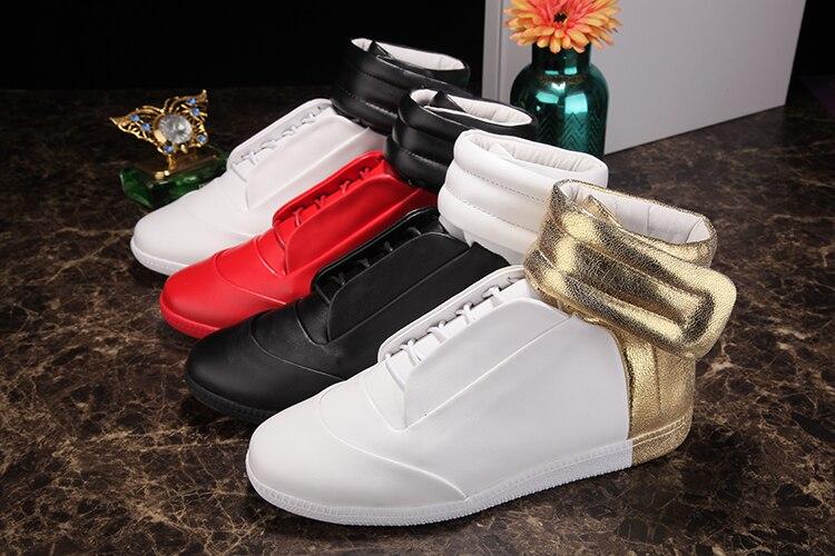 2017 baru pria sepatu pasang busana Putih Sepatu Kasual Emas Ankle Strap pria Sepatu Sepatu Tinggi Top Populer pria sepatu tinggi-top