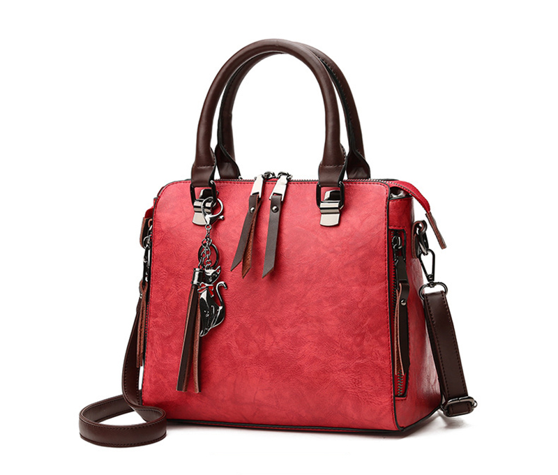 pure leather bag red color