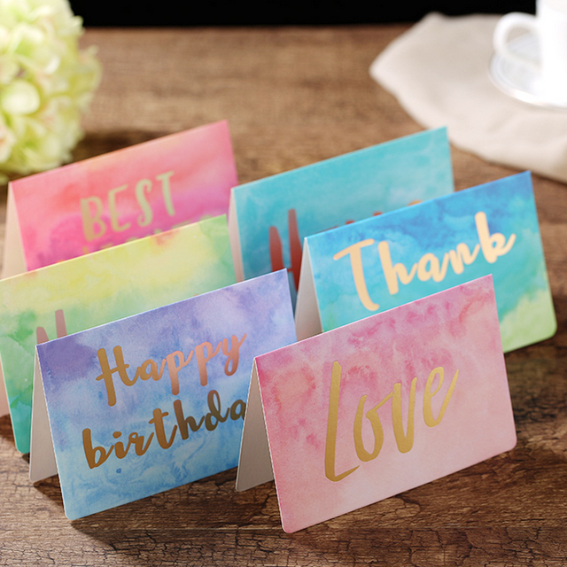 1pc Watercolor Folding Message Card Valentine S Day New Year