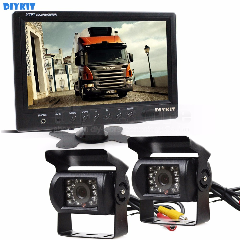 DIYKIT Wire 9 inch Rear View Monitor Car Monitor + 2 x Rear View Waterproof CCD Car Camera Kit for Bus Horse Trailer Motorhome diykit wired 12v 24v dc 9 car monitor rear view kit backup waterproof ccd camera system kit for bus horse trailer motorhome