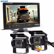 DIYKIT Wire 9 inch Rear View Monitor Car Monitor + 2 x Rear View Waterproof CCD Car Camera Kit for Bus Horse Trailer Motorhome