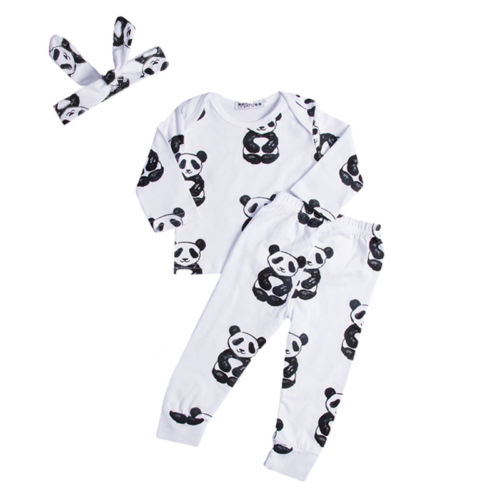 3Pcs Clothes Suit!!  Newborn Baby Girl Boy Cartoon Animal Long Sleeve Tops Sweatsuit Pants Headband Clothes Set newborn baby boy girl 5 pcs clothing set cotton cartoon monk tops pants bib hats infant clothes 0 3 months hight quality