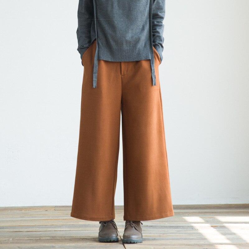 Reflux Streetwear Hiver Bas En Taille Dark Lâche Tricoté Large Automne Brown Elastique Pantalon Femmes Femme gris 2019 Poches Laine pHwpBn6rv