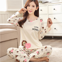 Spring long-sleeved 100% cotton pajamas set ladies cartoon monkey print trousers sets home clothing 2pcs casual