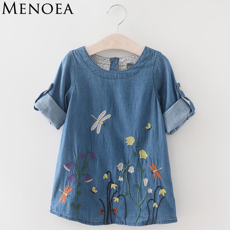 Menoea 2017 Girls Denim Dress Children Clothing Summer Fashion Style Girls Clothes Butterfly Embroidery Dress Kids Clothes