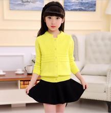 Elastic Fabric Screw Hem Cardigan for girls Cotton  Korean Style Solid Decorative pattern Knit Sweaters Pocket Sweet Coat S121