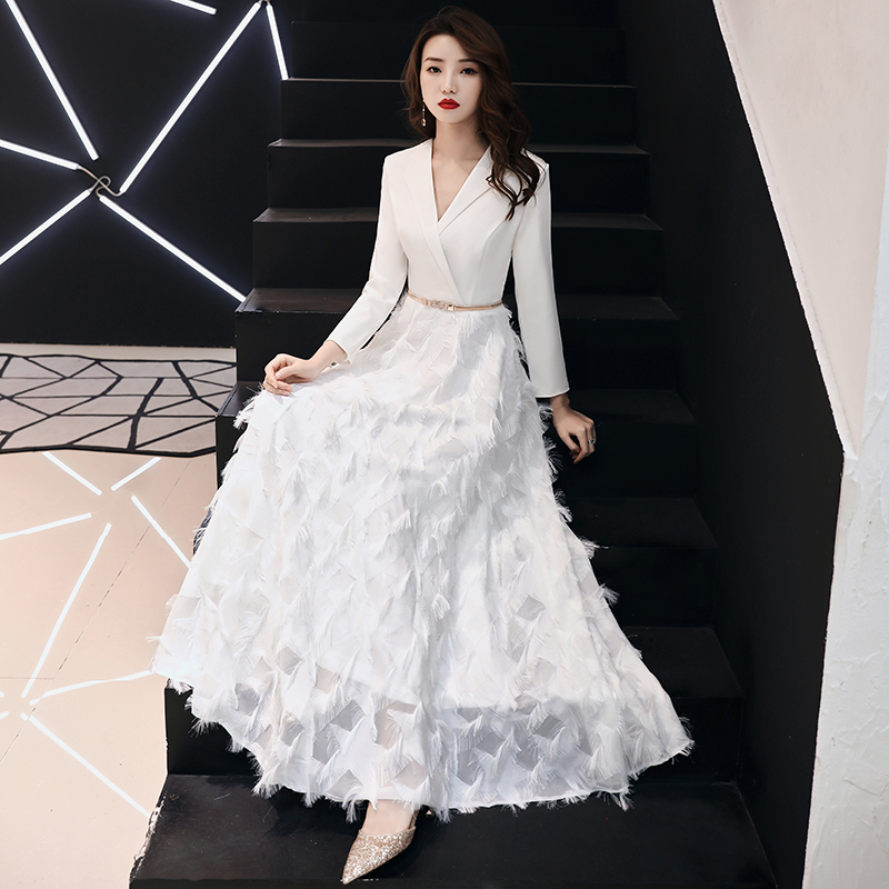 98b6f12ef7d weiyin 2019 White Evening Dresses Elegant Lace Evening Gowns Long Formal  Evening Dress Styles Women Prom Party Dresses WY1289-in Evening Dresses  from ...