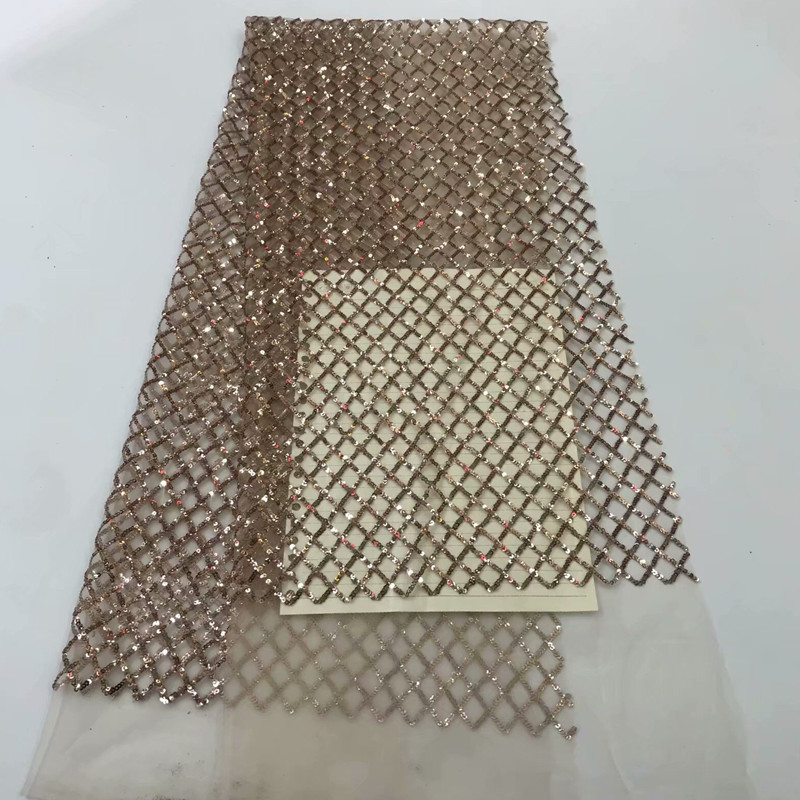 2018 high quality sequence French Nigerian sequins net African tulle mesh sequence lace fabric for dress