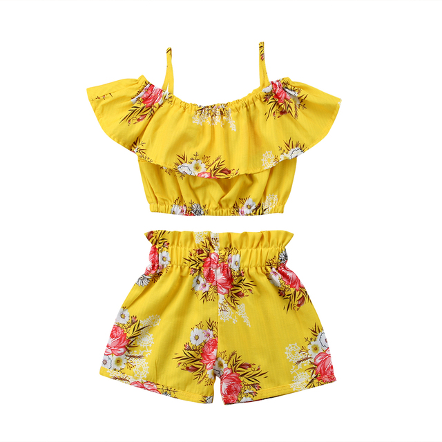 c7138901f1d 2018 Summer Toddler Kids Girls Royal Off Shoulder Yellow Floral Strap Tops  Shorts Outfits Set Cute Summer Novelty Clothes-in Clothing Sets from Mother  ...