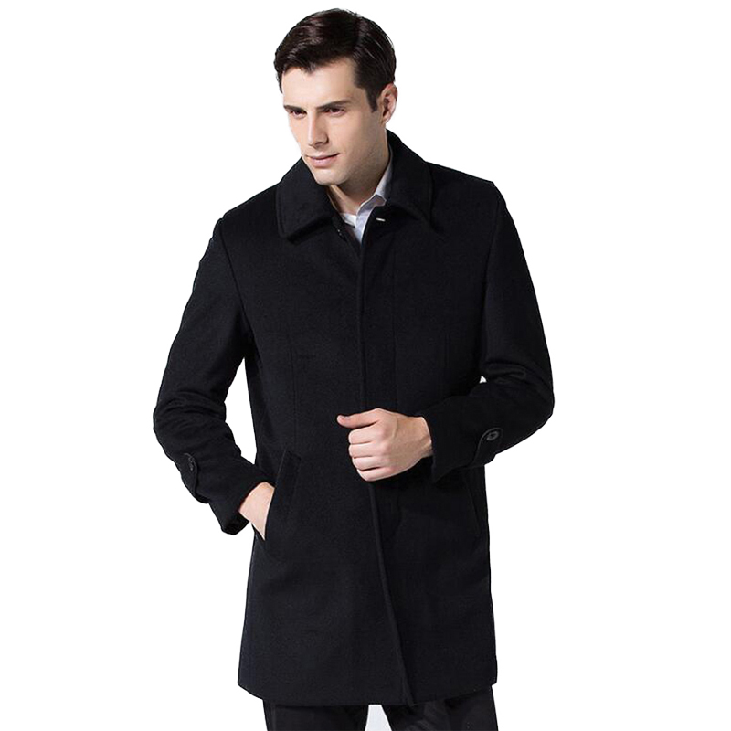 High-quality Winter Wool Jacket Men's Wool Blend Casual Slim Collar Wool Coat Men's Long Cotton Single Breasted Wool For Male(China)