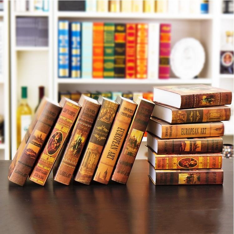 Old time! European style nostalgic simulation books, props, fake books, office furniture, home decoration, study, living room fu