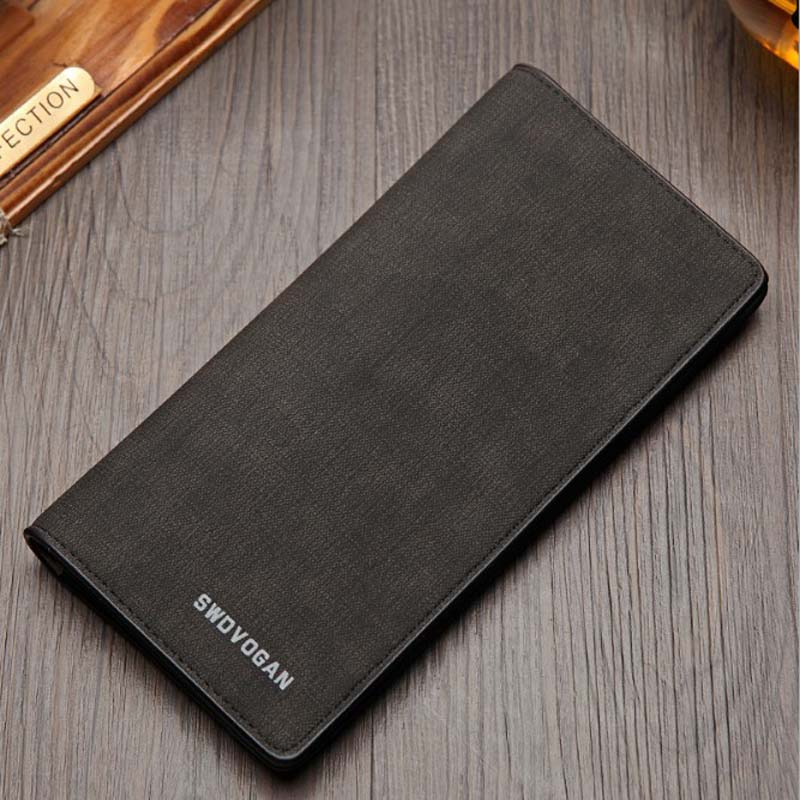 The new men's long retro wallet plus peri card wallet card package thin soft young students