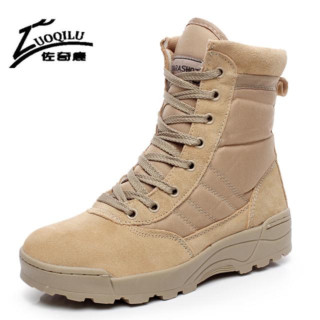 2016 Outono Inverno Homens Botas Táticas Botas de Deserto Do Exército Militar De Couro Dos Homens Botas Homens Sapatos Tamanho Grande Botas de Viagem À Prova D' Água