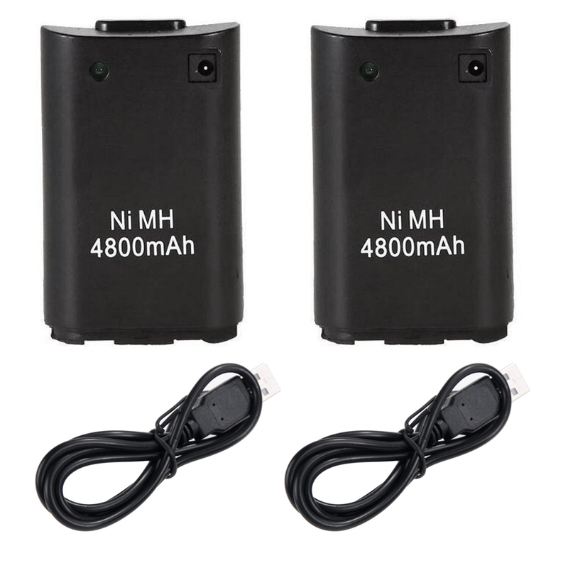 2 X USB Charger Cable + Rechargeable Battery For XBOX360 Wireless Controller For Microsoft Xbox 360 Wireless Controller