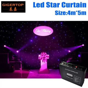 Harga murah 4 M * 5 M & 5 M * 4 M Super Kesepakatan LED Bintang Curtain/Kain/LED Horizon Star Kain Tirai Cahaya LED Warna Tunggal LED Dropback