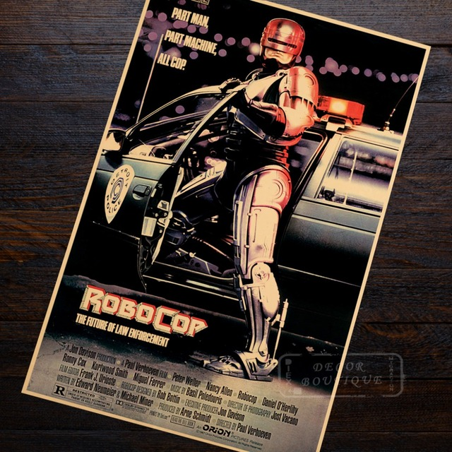 RoboCop vaguely fictional Sci-Fi Movie Film Vintage Retro Decorative Frame Poster DIY Wall Canvas Stickers Home Posters Home Dec