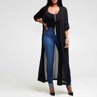 New Notched Neck Women Trench Coat Solid Fashion Long Sleeve Cardigan Chiffon Shirt Jacket Casual Long