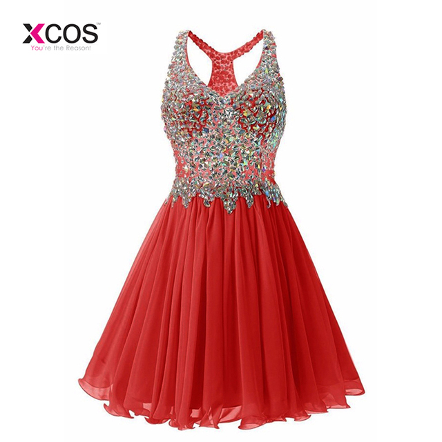 Red Short Homecoming Dresses 2018 Sexy Crystal Beads V Neck Graduation Cocktail Party vestido rojo corto robe courte
