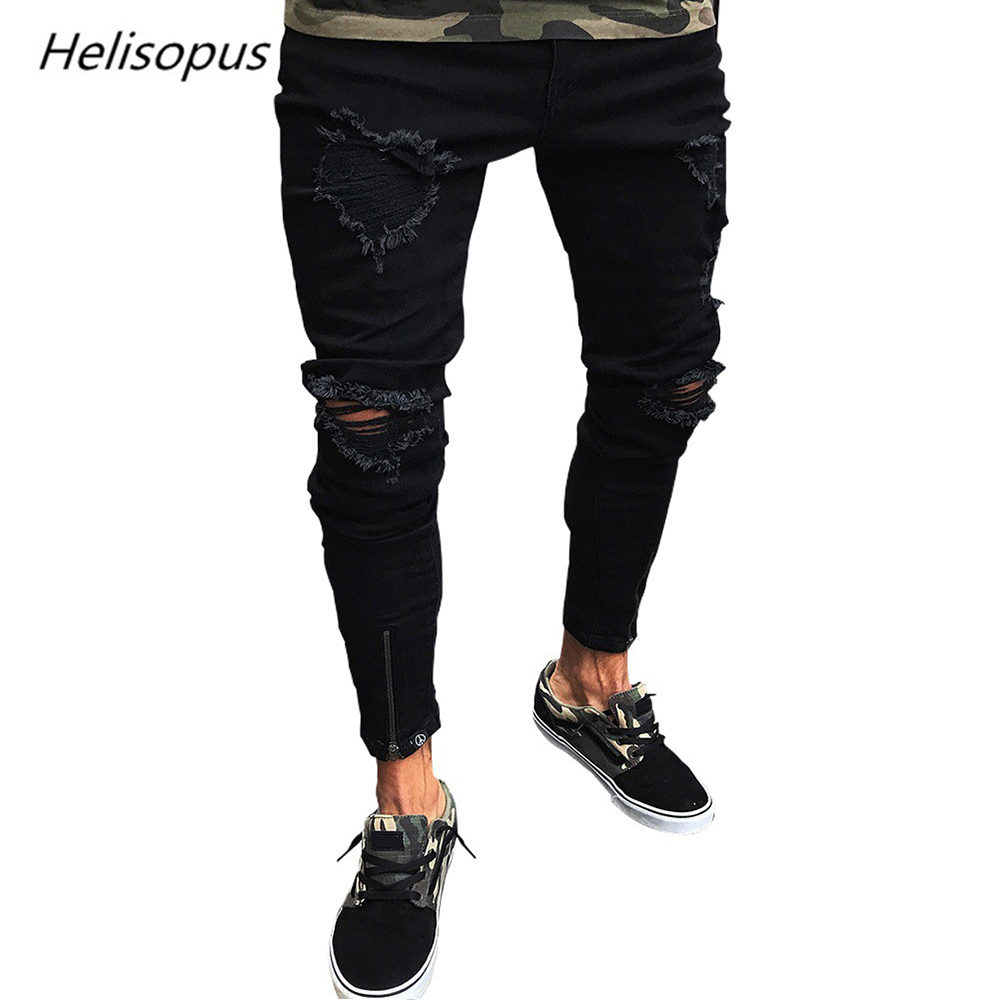 Helisopus Fashion New Men's Straight Pants Elastic Slim Fit Jeans Solid Color Black Casual Distressed Rip Pants