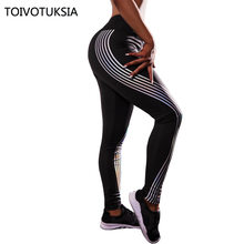TOIVOTUKSIA New hot Reflective Strip woman wholesale athletic sport fitness printed leggings