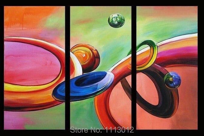6a8ab85cc2 Planeta Do Mundo Da Pintura a Óleo Pintados À mão Abstrata Moderna 3 Painel  Conjunto de arte Na Lona Decoração Home For Living Parede Da Sala imagem