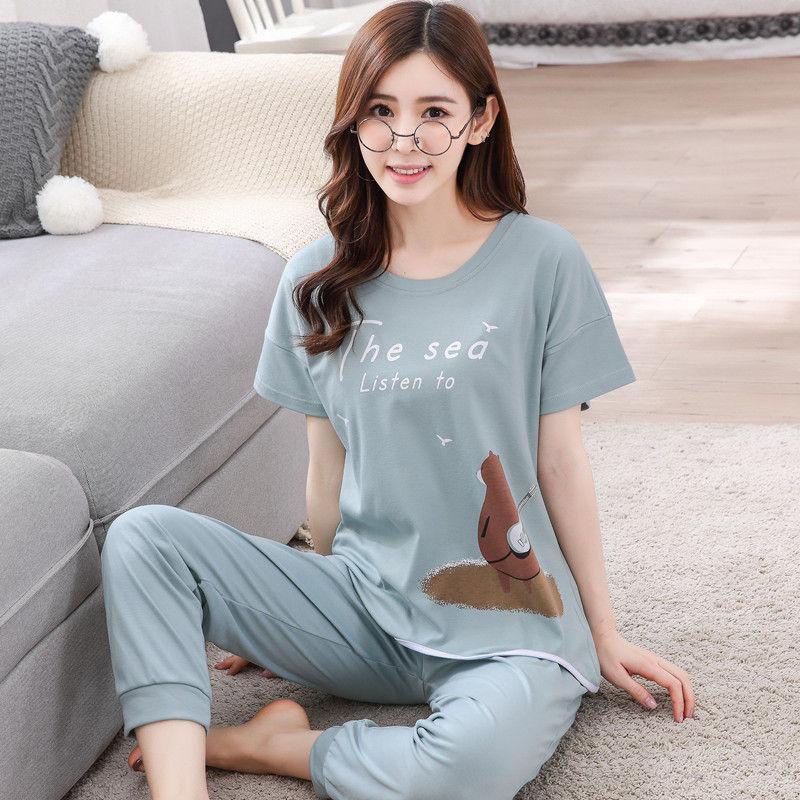 Casual Pajama Sets for Women 2018 New winter female warm Pyjamas nightgown girl O-Neck long Sleeve cute 100% Cotton Sleepwear