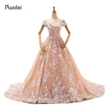 Real Photo Orange Pink Ball Gown Wedding Dresses Long Sweetheart Appliqued Floral Lace Bridal Gown 2017 Robe de Mariage FW65