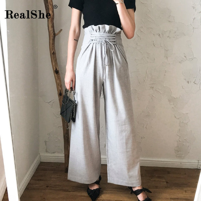 RealShe 2018 New Women High Waist Wide Leg Pants Solid Tie Drawstring Elegant Elastic Waist Pockets Casual Loose Trousers