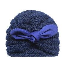 TELOTUNY/Вязаная хлопковая шапка для новорожденных, шапка для маленьких мальчиков и девочек, вязаная теплая шапка-тюрбан с узлом, зимняя теплая шапка головной убор, шапка ZS12