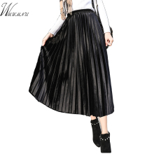 Sping Womens fashion loose stripe pleated skirt new arrival China casual cheap sexy long skirts Elastic band beah skirts