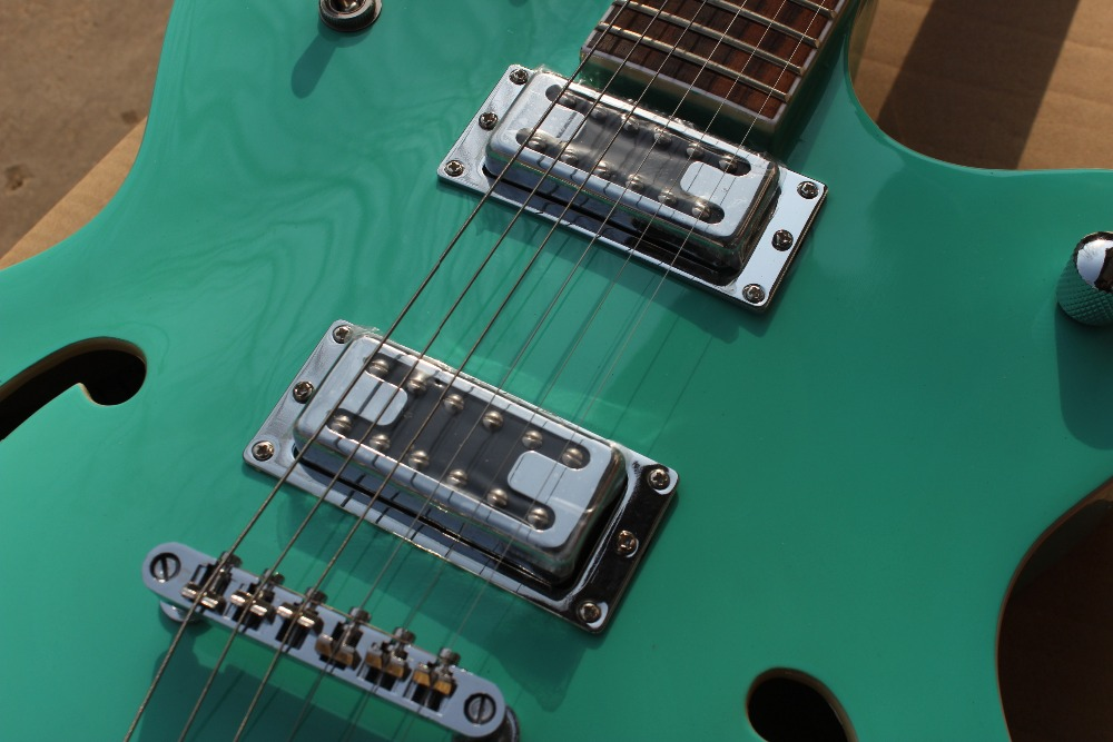 Wholesale Vicers custom Hollow Body Jazz Electric Guitar green color F-hole with chrome hardware!