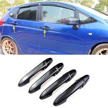 Pcmos углеродное волокно ABS боковая Дверная ручка Крышка отделка Подходит для Honda Jazz наружные части двери наклейки Стиль Новая мода