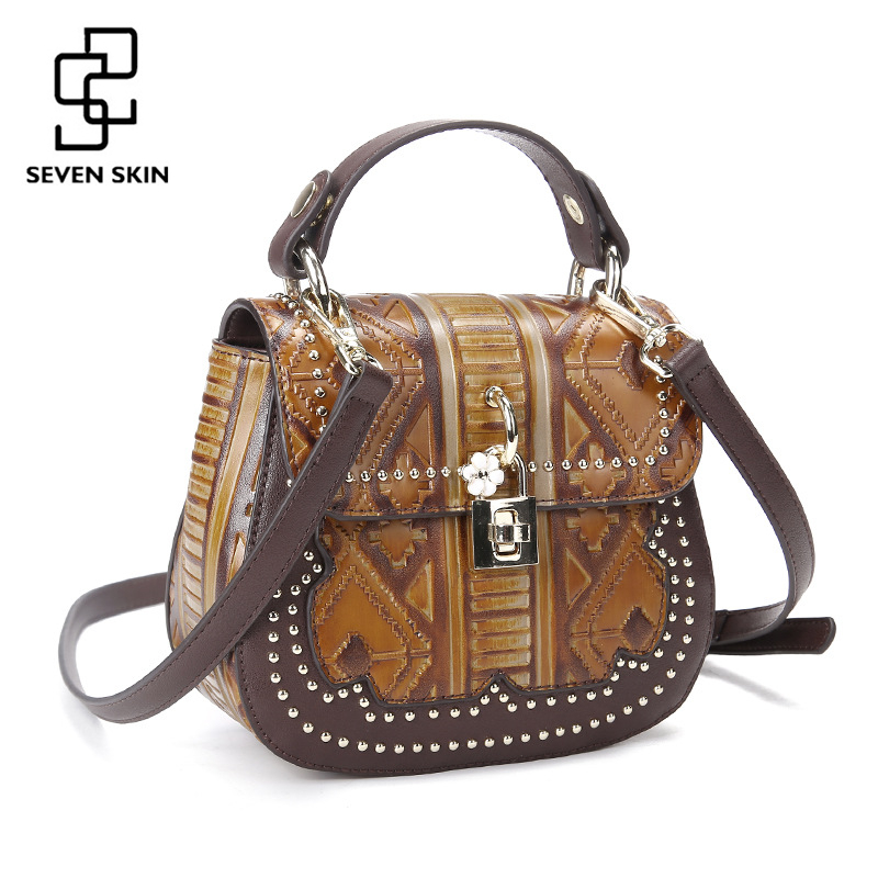 SEVEN SKIN 2017 New Designer Women Genuine leather bag female luxury handbag vintage Handmade small shoulder bags with flower все цены