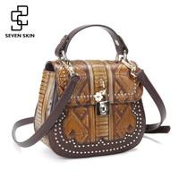SEVEN SKIN 2017 New Designer Women Genuine Leather Bag Female Luxury Handbag Vintage Handmade Small Shoulder