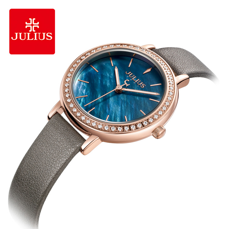 Julius Brand Lady Classic Blue Shell Dial Leather Watch Luxury Rhinestone Quartz Wrist Watches Woman Dress Montre Femme Clock|Women's Watches| |  - title=