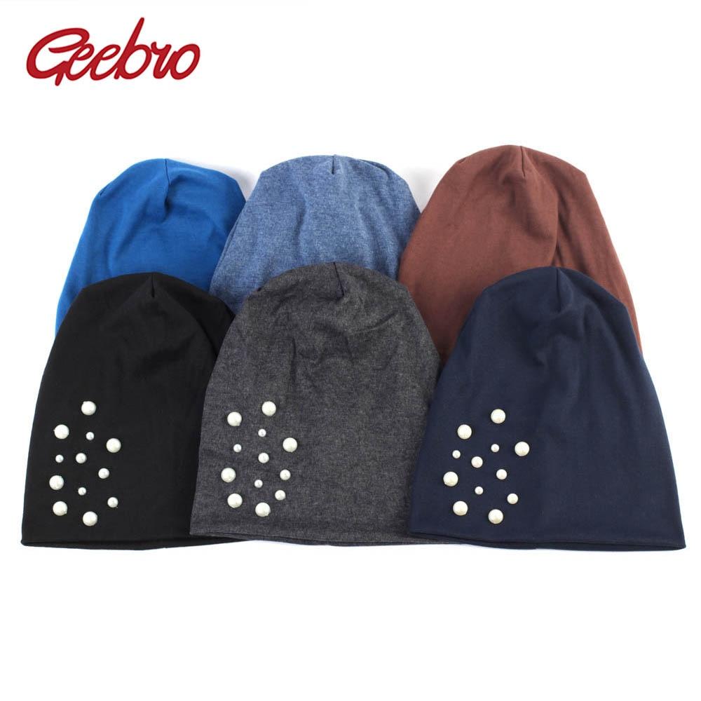 Geebro Women's Beanie Hat Autumn Casual Pearl Slouchy Beanies Hat For Women Cotton Balavaca Skullies Hat For Female DQ833A