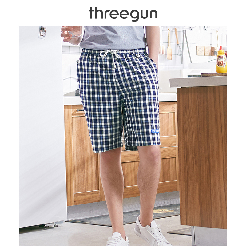 THREEGUN Brand Loose Plaid Cotton Men's Board Shorts Casual Beach Underpants Comfortable Homewear Panties High Quality Quick Dry-in Board Shorts from Men's Clothing    1
