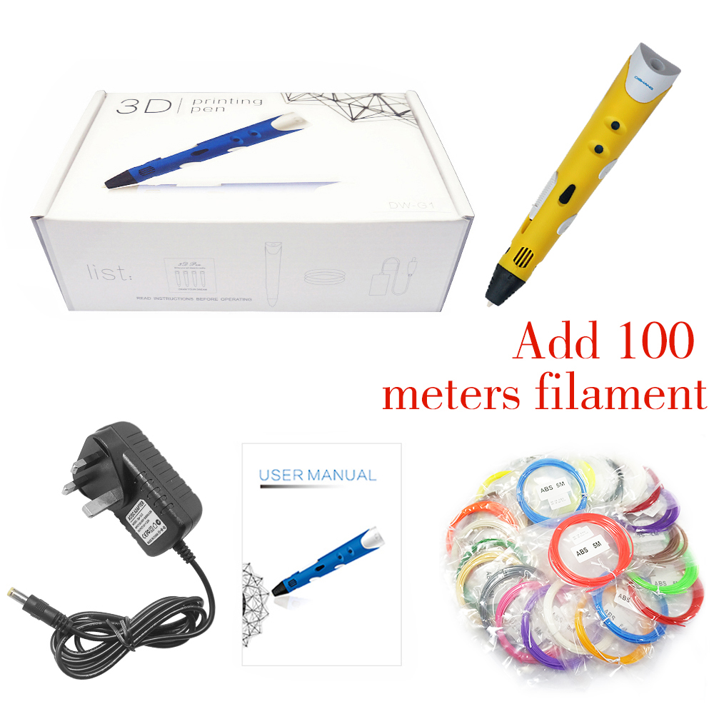 DEWANG Scribble Pen 3D Penne 100M ABS Filament 3D Printer Fødselsdagsgave ABS 3D Printing Pen til School Gadget Lapiz 3D Pencil