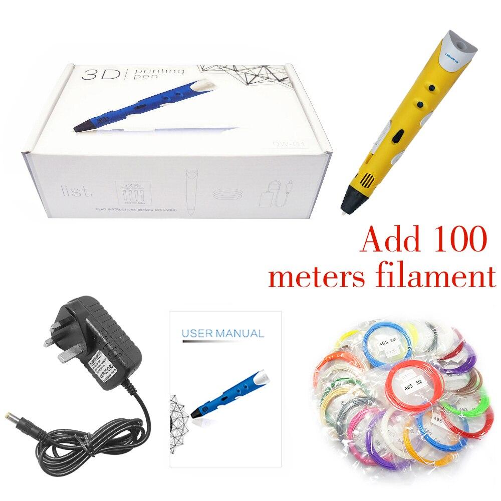 Prix pour Dewang 3d impression stylo + 100 m 20 couleurs abs filament ua/us/uk/eu plug kid bricolage artisanat 3d stylo