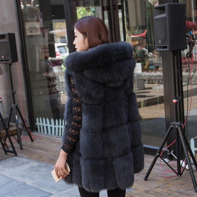 1cdbeafd5554d Abrigo de piel sintética de zorro de moda 2017 Chaleco de piel de imitación  abrigo largo