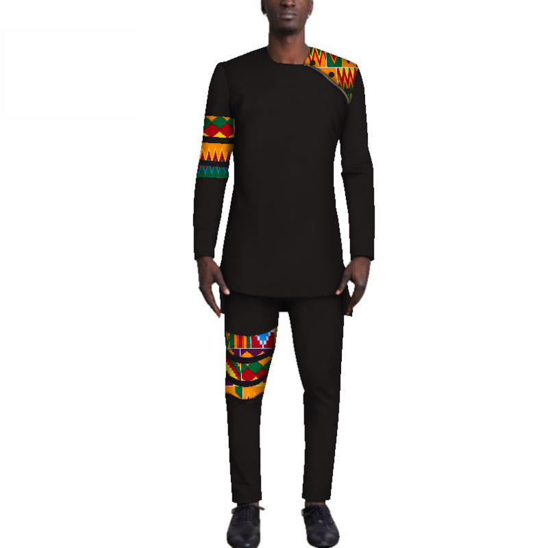 Casual-Mens-African-Clothing-Bazin-Riche-Patchwork-Top-Shirt-and-Pants-for-Men-Custom-100-Cotton(13)