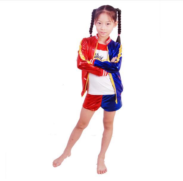 Online Shop 3pcs Hot girls Harley Quinn costume jacket T-shirt Tee ...