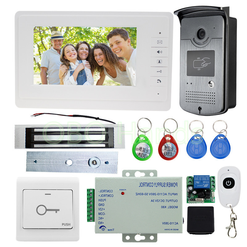 Wired 7 inch Color Video Door Phone Intercom System Kit Monitor With RFID Access Camera Video Doorbell With EM Lock And Power brand new wired 7 inch color video door phone intercom doorbell system 1 monitor 1 waterproof outdoor camera in stock free ship