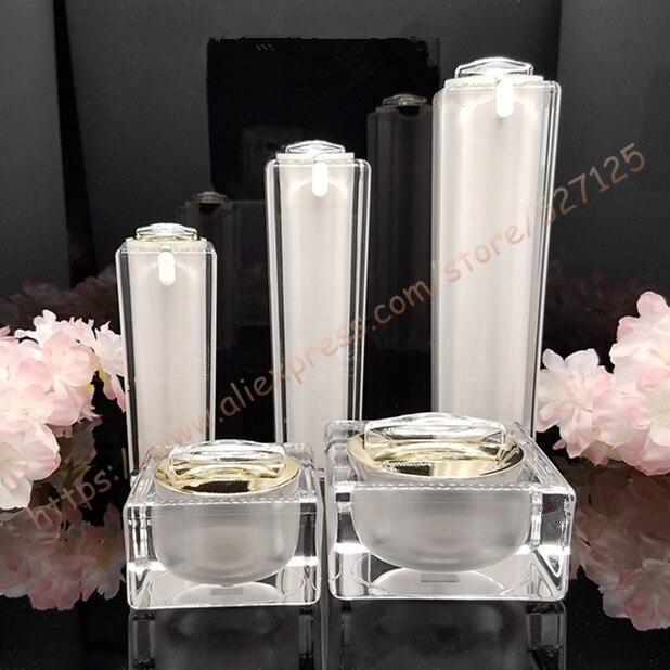Top grade cosmetics suit acrylic packing 15g 30g 50g facial cream jar 30ml 50ml 100ml moisturizer