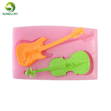 free shipping 1pc 100% foodgrade guitar 3d silicone cake mold,soap mold,cake decoration fondant mould