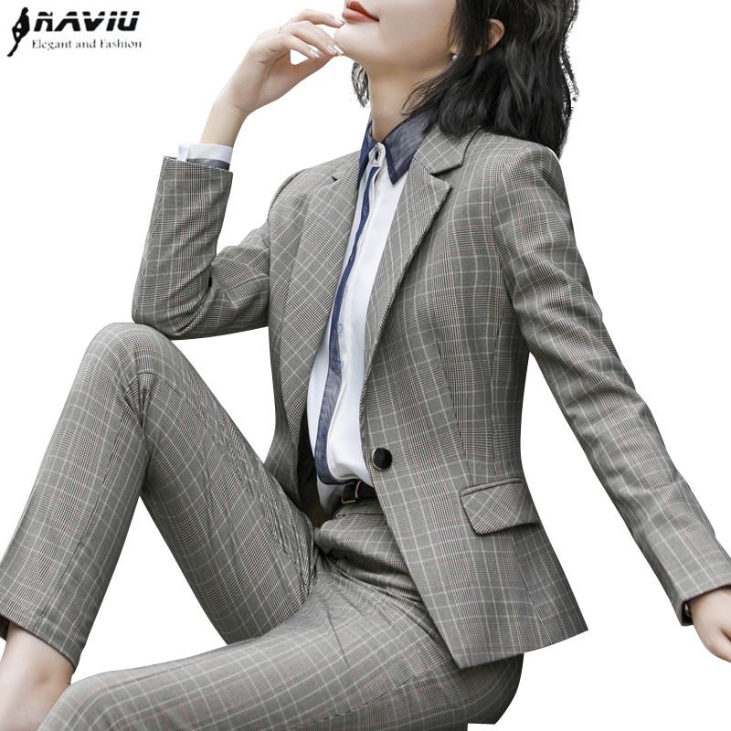 High quality fashion plaid pants suits set women new business long sleeve blazer and trousers office